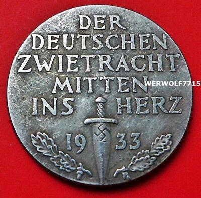 Adolf Hitler 1933 LARGE GERMAN SUPERB Coin WW2 39mm EXONUMIA 3RD REICH
