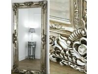Large Champagne Silver leaner mirror !! New !!