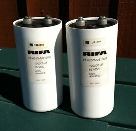 CAN CAPACITORS 100000uF, 63V * BARAGAIN * BOTH FOR £ 30.00