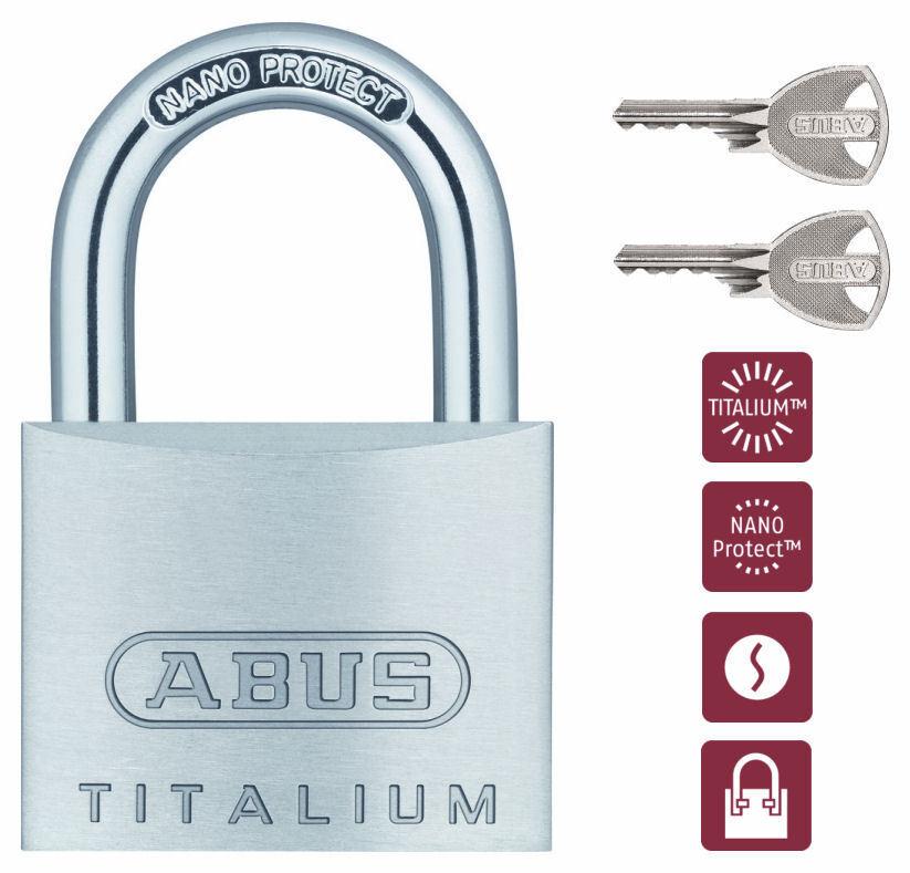 ABUS TITALIUM Vorhängeschloß 64TI/40 mit Mehrschlüssel/Zusatzschlüssel
