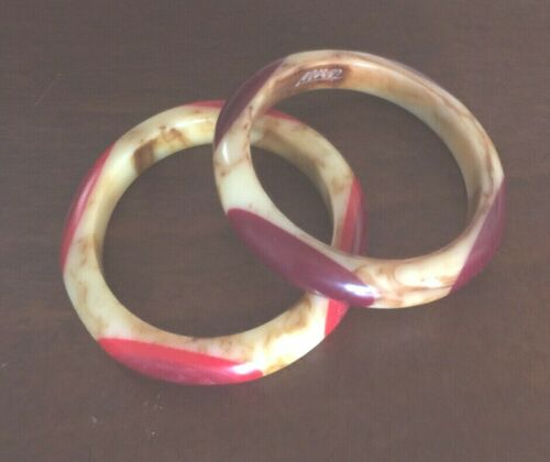 TERESA Bakelite Belle Kogan-Inspired Bangle Bracelets signed pair