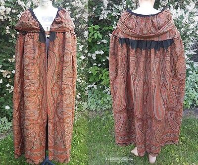 Antique Paisley Cape Coat Shawl Civil War / Victorian Era 1800s