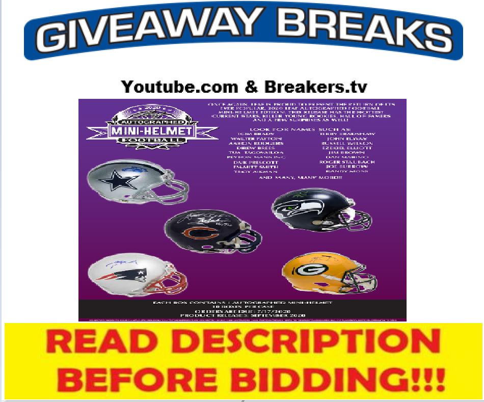 Carolina Panthers 2020 Leaf Mini Helmet Live Box Break 12 - $5.49