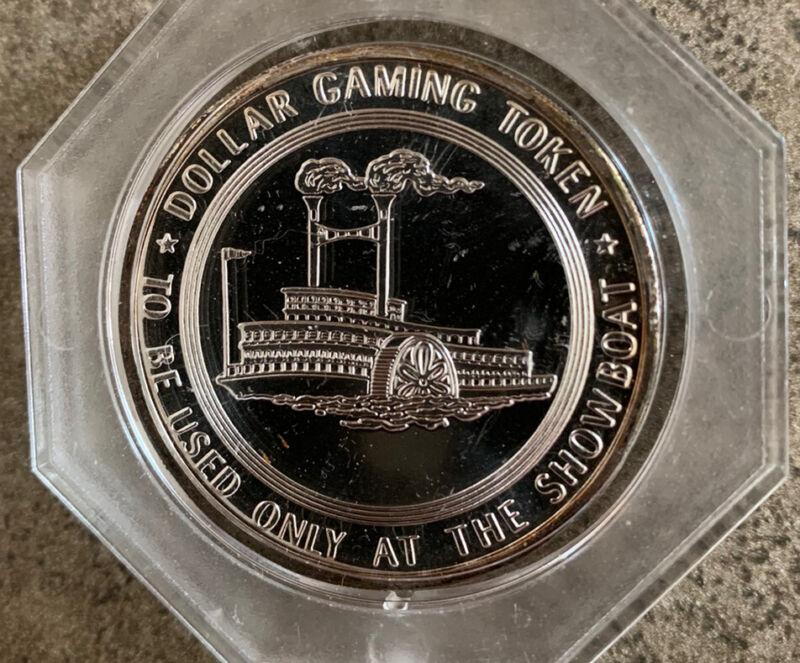 Vintage 1960's Showboat Hotel & Casino Las Vegas Silver Dollar Gaming Token