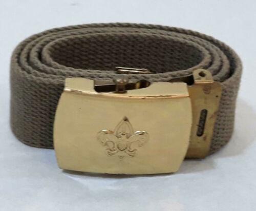"Vintage Cub Boy Scout BELT & BUCKLE Clip BRASS 30"" Waist ~ Ships FREE"