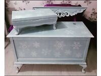 Unique one of a kind hand painted large wooden chest, matching shelf & lined trinket box.
