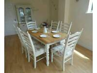 Beautiful Shabby Chic 5ft Solid Oak Farmhouse Dining Table and 6 Chairs