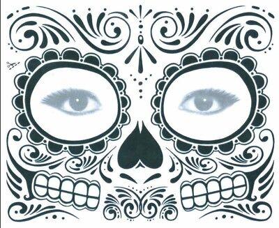 Maske Totenkopf Tattoo für Gesicht Maske Tattoo Halloween Skull Boy Girl #1