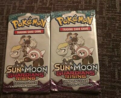 2 Packs Of  pokemon cards Sun & Moon guardians rising Sampling Packs