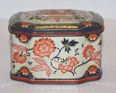 VINTAGE Orange/Navy/Gold Floral Tin w/Attached Lid Container Made in England
