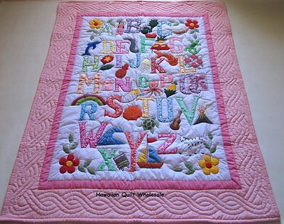 Hawaiian style ABC quilt baby crib blanket hand quilted wall hanging LIGHT - Abc Baby Wall Hanging