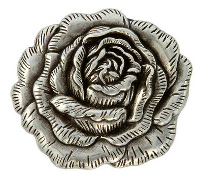 """Western Equestrian Tack Antique Silver Rose 1 1/2"""" Concho's Set of 6"""