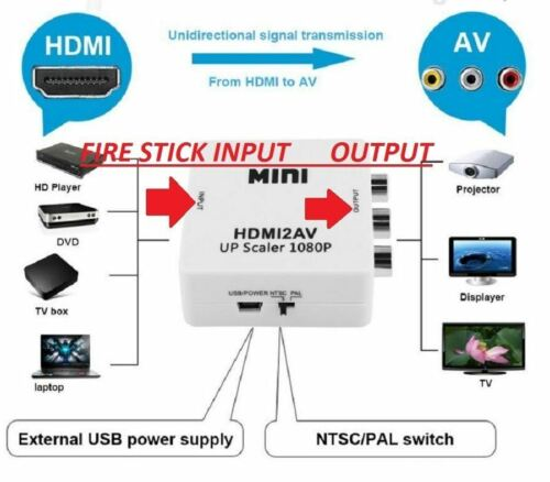 Hdmi Hd To Rca Composite Av Tv Video Converter Ps3/ps4/bl...