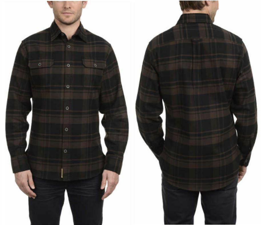 Jachs Men's Brawny Flannel Work Shirt Cotton Button-Down Lon