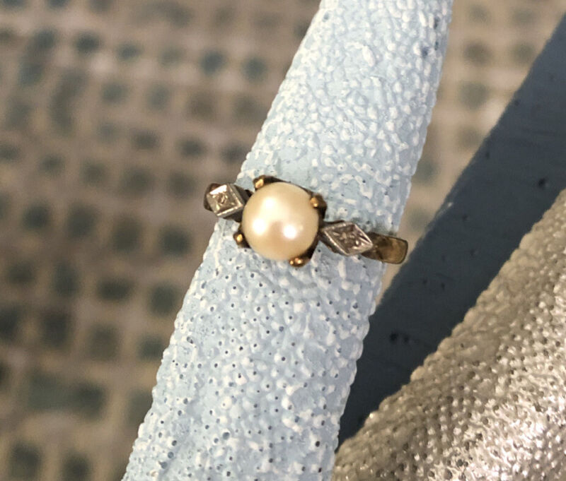 14k GOLD Diamond Pearl Sz 6 Victorian Ring Estate Antique