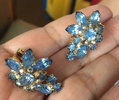 STUNNING VINTAGE GOLD BLUE AND AB RHINESTONE JULIANA STYLE EARRINGS GORGEOUS!