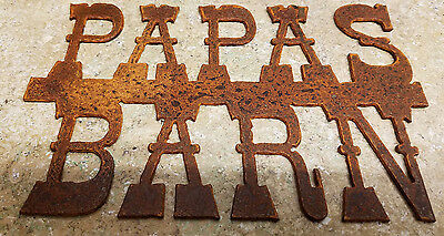 FREE SHIPPING Large Rusted Metal Papas Barn Sign Wall Hanging/Farm/Ranch