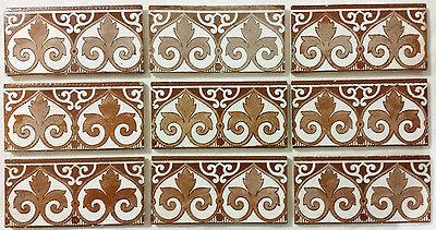 9 Fliesen / Kacheln Borte, Jugendstil Witteburg Farge ornamental