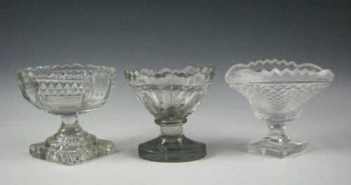 3 Antique Early Cut Blown Glass Salts