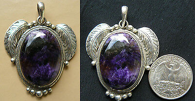 Charoite pendant set in Sterling Silver Hand crafted design 2 only Purple - Charoite Sterling Silver Designer Pendant