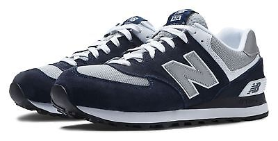 New Balance Mens 574 Classics Shoes Navy With Grey   White
