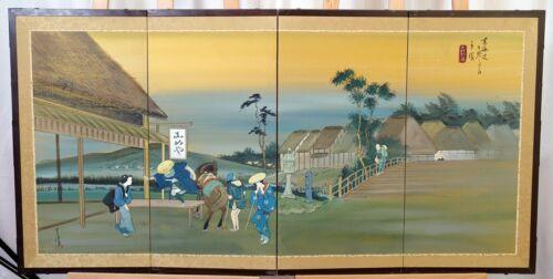 VGUC+ MC Japanese Byobu Village Scene Signed Painted Silk 4-Panel Folding Screen