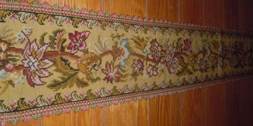 Extra Long Antique EUROPEAN Floral Needlepoint Tapestry Mantle Textile~PRETTY!