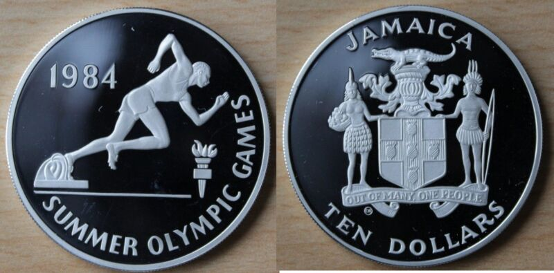 1984 Jamaica Large Silver Proof $10 Olympic Runner- Los Angeles