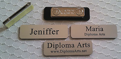 Custom Name Tags 2.5x0.75 Silver -black Letters Corners Rounded W Magnet