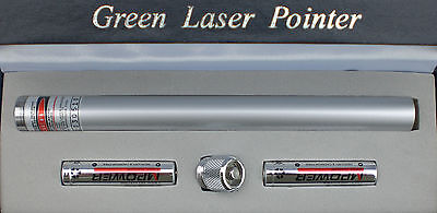 POWERFUL SILVER 532nm APC GREEN LASER POINTER PEN WITH CONSTANT ON/OFF