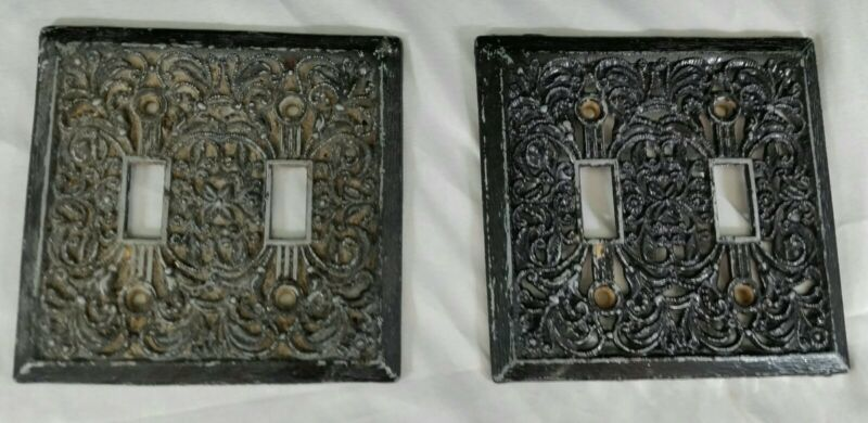 2 Vintage Black Silver Metal Ornate Double Light Switch Cover Plates