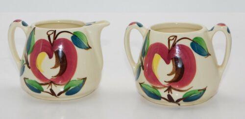 Purinton Pottery Apple Creamer and Sugar Set Slip Ware