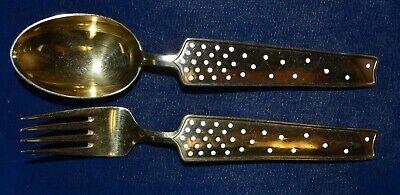 1947 Denmark Alton Michelsen Christmas Sterling Silver Fork & Spoon Set ()