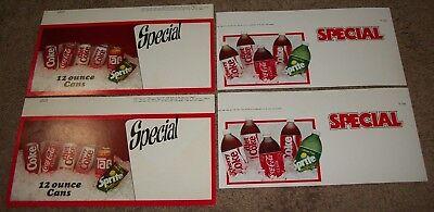 4 VINTAGE 80s COCA COLA CLASSIC COKE DIET & SPRITE POSTER BOARD SHELF SIGNS COOL