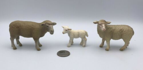 SCHLEICH SHEEP FAMILY Ewe, Ram & Lamb Baby Farm Animal figures 2002/03 Retired