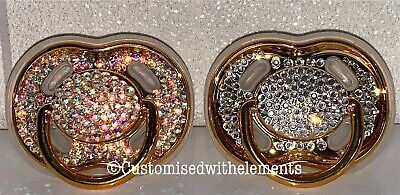 Crystal Rhinestone Gold Dummy/Pacifier Baby Shower Christening Gift Cake Topper Crystal Baby Pacifier