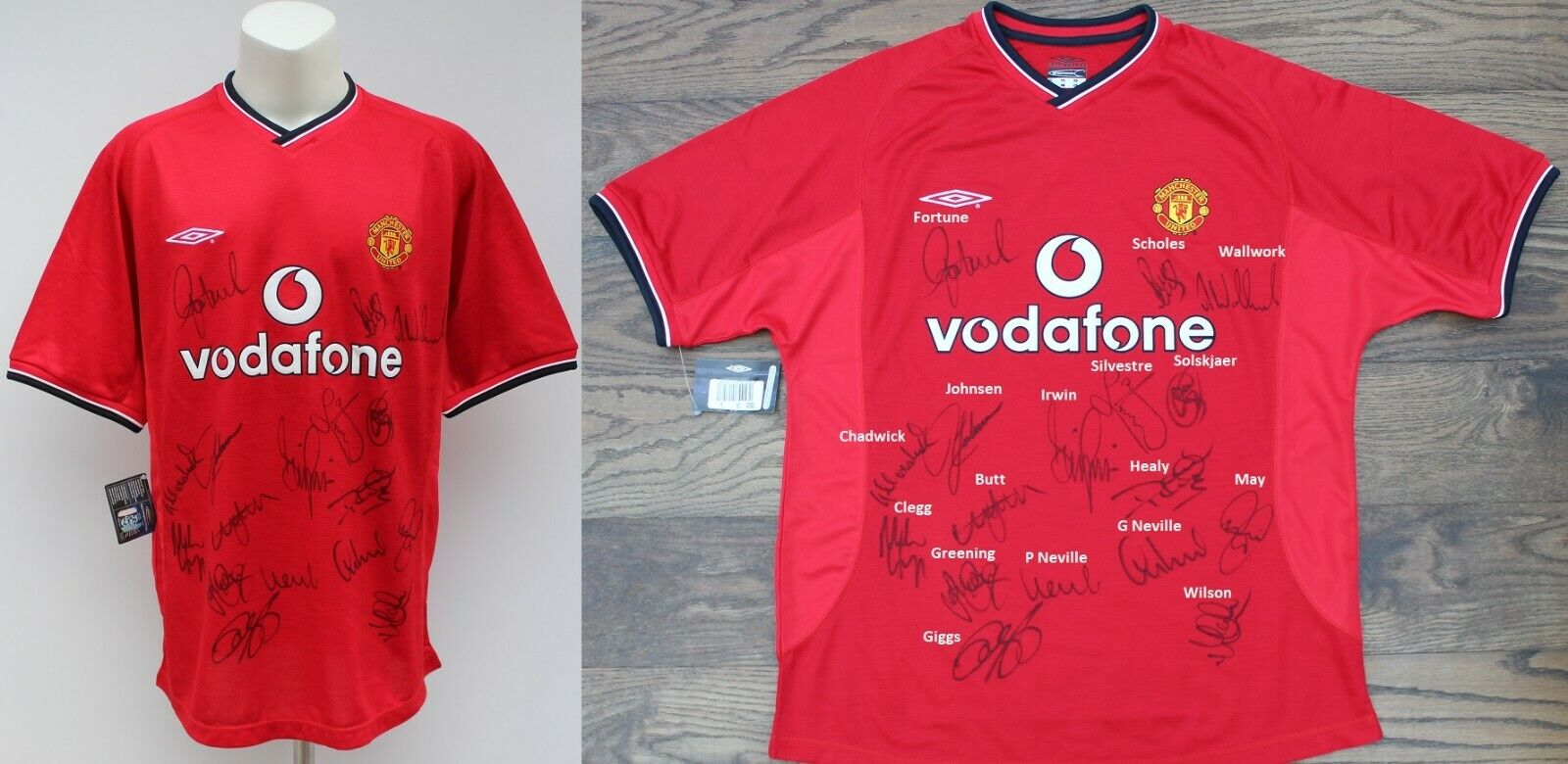 2000-01 Man Utd Champions Home Shirt Squad Signed inc ...