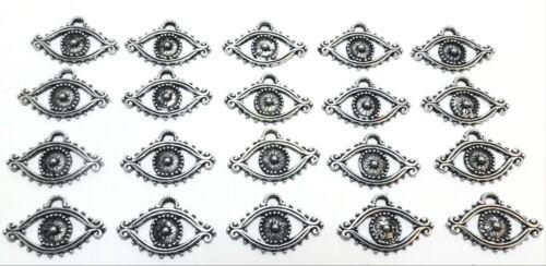 Set of Twenty (20) Pewter Evil Eye Charms -5521