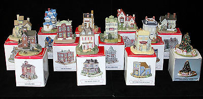 Lot of 12 Village Buildings/Tree-Liberty Falls Americana Collection w/ boxes