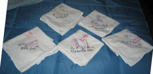 Lady Kitchen Towels  - Market, Cleaning, Bake, 2 Sunday FIVE Antique Embroidered