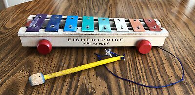 Vintage 1964 Fisher-Price Pull-A-Tune Xylophone with Mallet & String (#870)