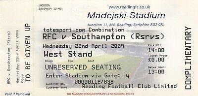 Ticket - Reading Reserves v Southampton Reserves 22.04.09