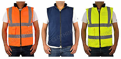 Hi-Vis High Visibility Reversible Fleece Bodywarmer Waistcoat Work Jacket S-5XL