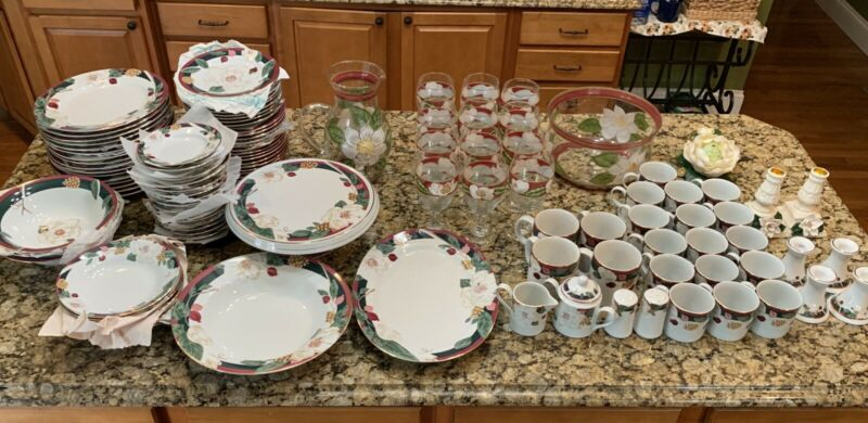 115 Pc (will Subdivide) Tienshan Fine China Set - Magnolia