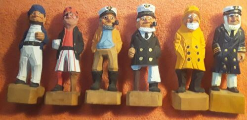 6 Carved Wooden Nautical Sailor Captain Fisherman Pirate Figurines 6 1/4""