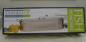 """New RSVP Endurance 20"""" Stainless Steel Fish Poacher with rack"""