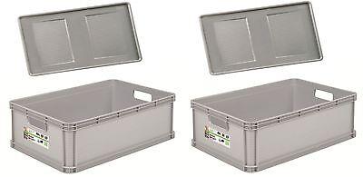 2 x Robusto-Box mit Deckel 45 L grau Aufbewahrungsbox Box Kiste