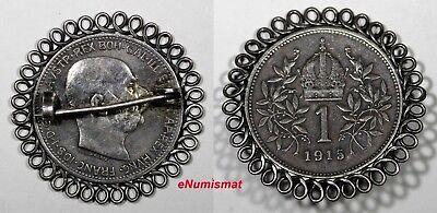 Austria Franz Joseph I Silver 1915 1 Corona Pin Brooch KM# 2820