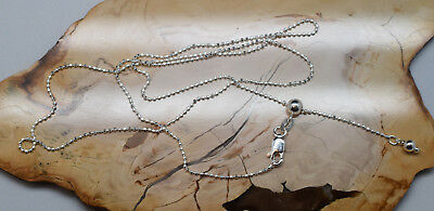 Adjustable Diamond Cut Bead Chain Necklace 925 Sterling Silver 1.2mm Ball Slide