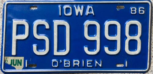 1986 Iowa Pressed Steel License Licence Number Plate O